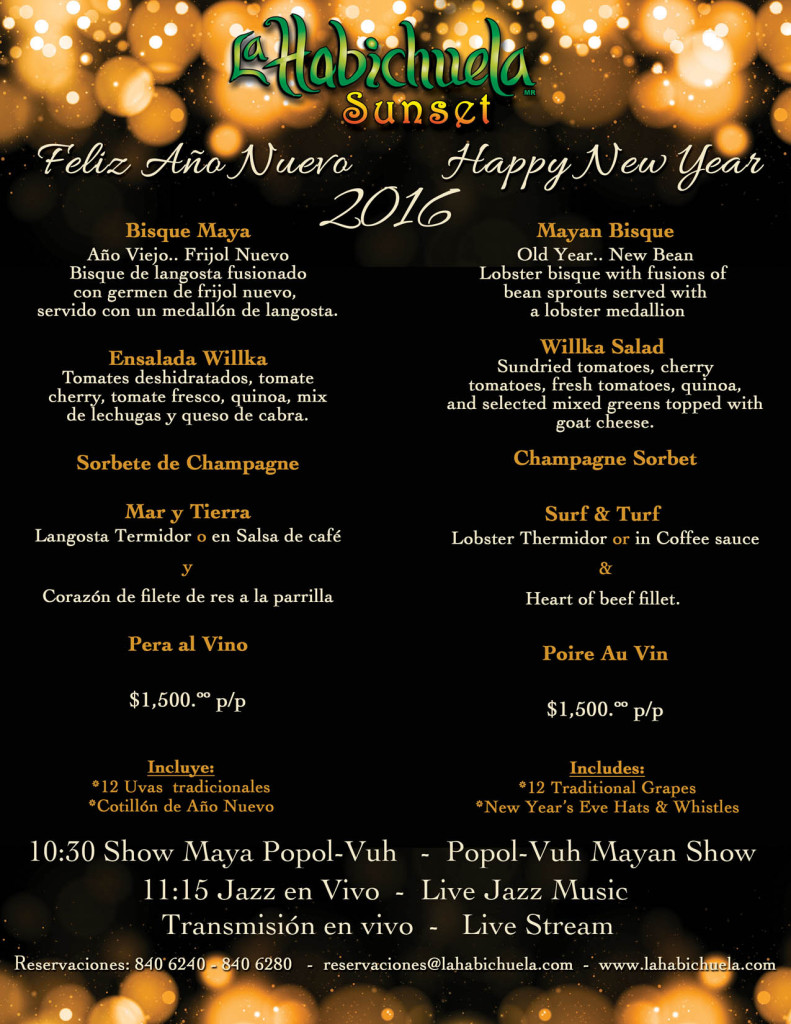 fFlyer Menu Año Nuevo Sunset 2015-2016