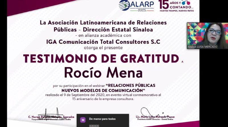 """ALARP Sinaloa otorga Testimonio de Gratitud a Rocío Mena por webinar """"Relaciones Públicas Nuevos Modelos de Comunicación"""""""