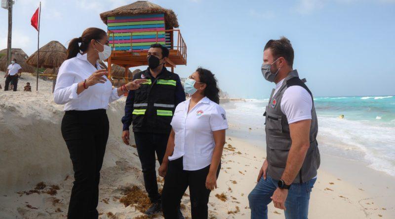 Mara supervisa trabajos en playa Delfines afectada por la erosión